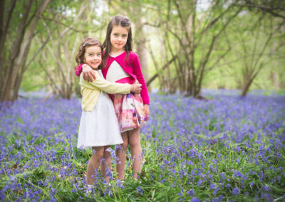 Hug standing in Bluebells